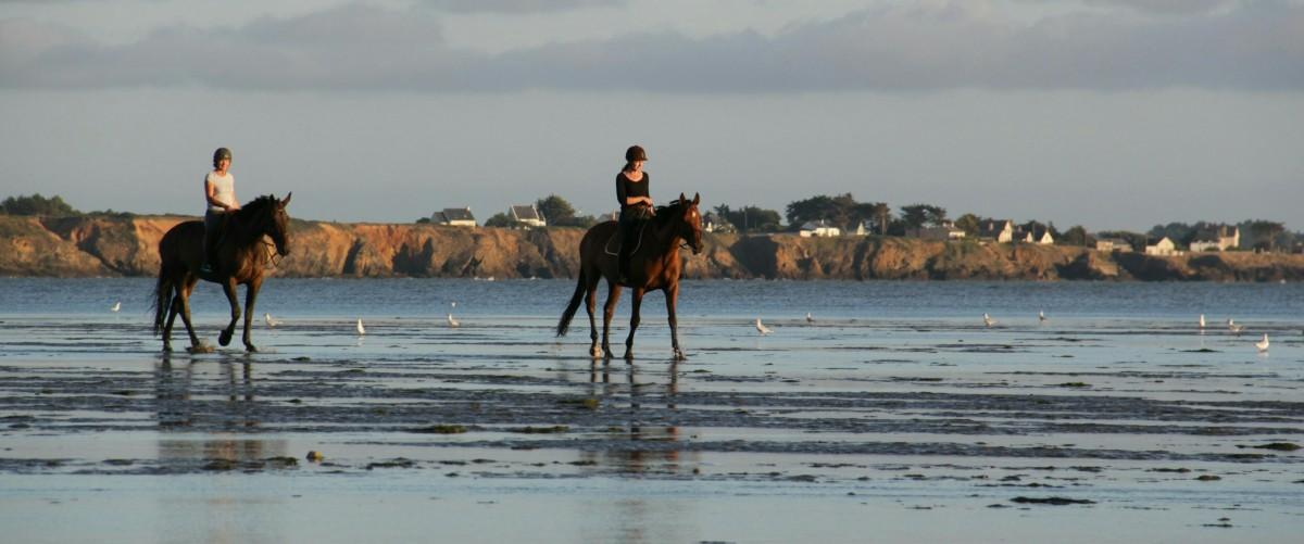 Chevaucher sur la plage